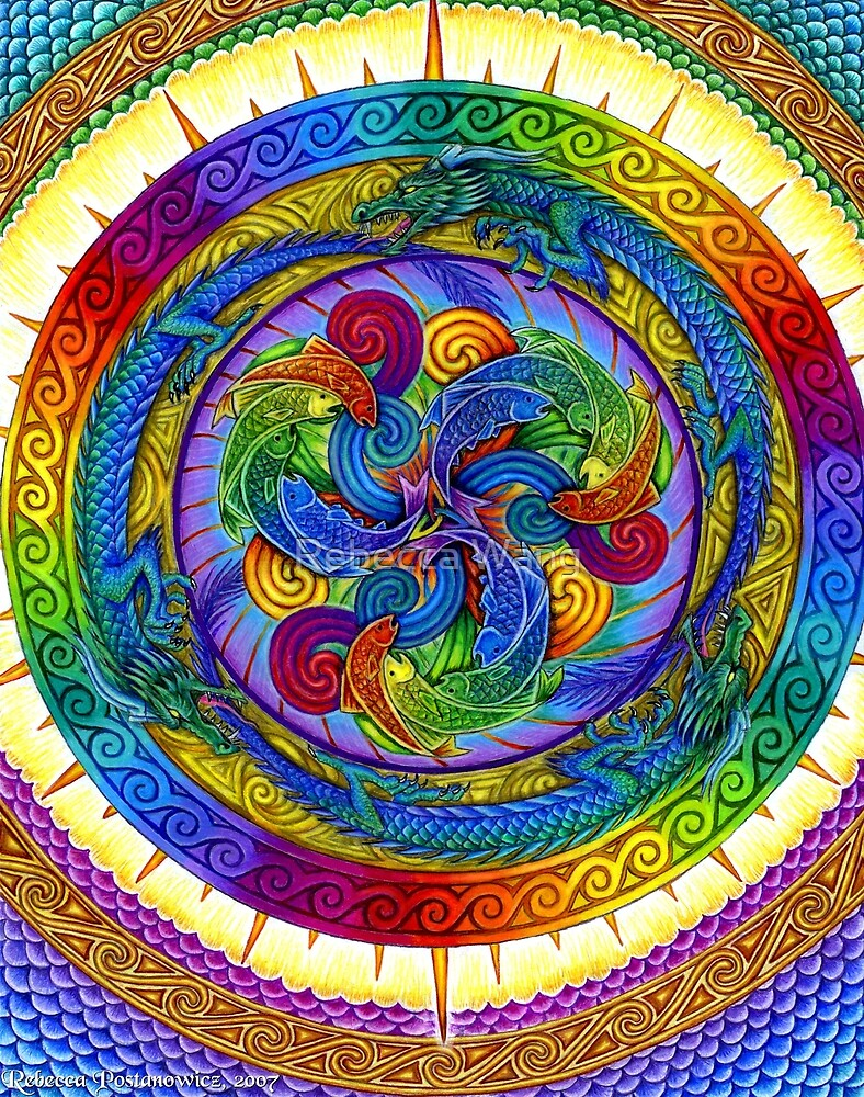 Epiphany Psychedelic Dragons Rainbow Mandala by Rebecca Wang