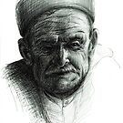 Old Greek Fisherman - Pen & Ink Drawing by Rebecca Rees