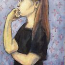 Girl chewing her nail by Fiona O'Beirne
