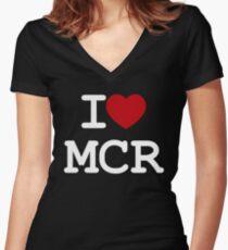 I Love Manchester - I love MCR Women's Fitted V-Neck T-Shirt