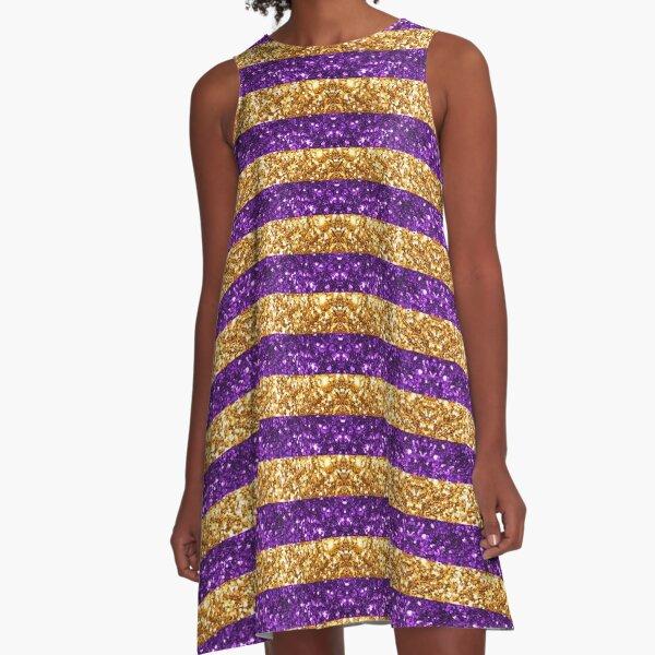 Purple and Gold Glitter Stripes Baton Rouge New Orleans Nola Louisiana Los Angeles California  A-Line Dress