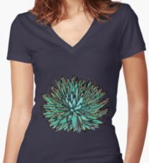 Spiky Green Agave Women's Fitted V-Neck T-Shirt