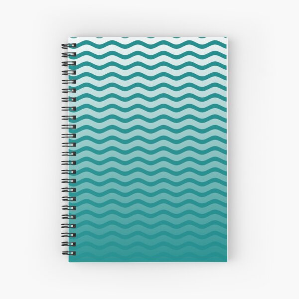 Teal and White Faded Chevron Wave Spiral Notebook