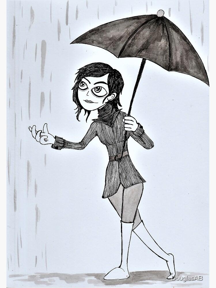 Tarjetas De Felicitación Mujer Con Un Paraguas Bajo La Lluvia De Douglasab Redbubble