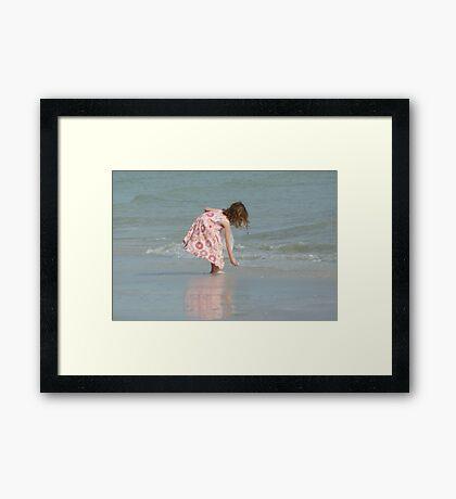 Little Girl on Beach Framed Print