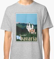 Beautiful Bavaria Vintage Travel Poster - Neuschwanstein Castle Classic T-Shirt