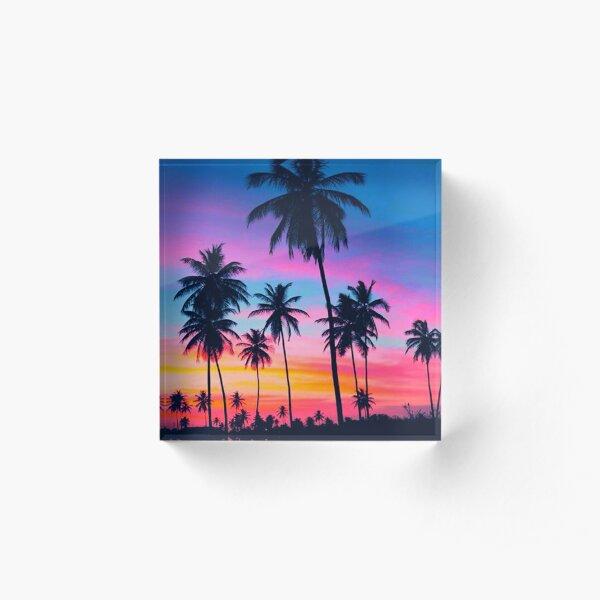 Tropical Palm Tree Sunset Acrylic Block