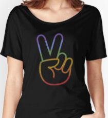 LGBT Shirt Vintage Equality Flag Big Peace Love Women's Relaxed Fit T-Shirt