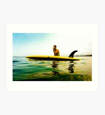 Single Fin Next to Surfer in Mexican Pacific Art Print