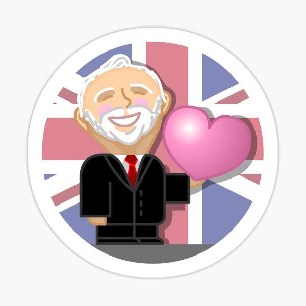 "Jeremy Corbyn - ""kawaii"" cartoon character with heart Sticker"