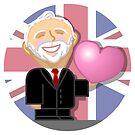 """Jeremy Corbyn - """"kawaii"""" cartoon character with heart by Dan & Emma Monceaux"""