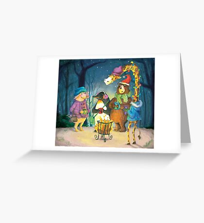 Christmas in the forrest at a lovely fire Greeting Card