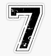 Number 7 Seven Black Jersey Sports Athletic Player Sticker