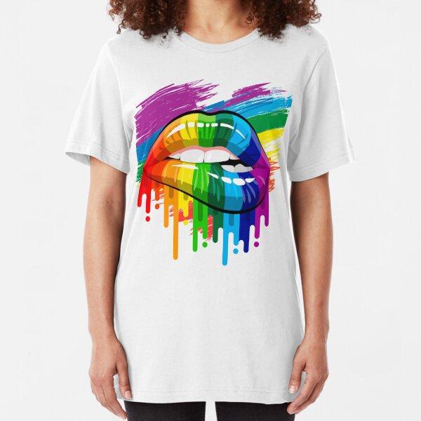 proud Rainbow Lips Pride Slim Fit T-Shirt