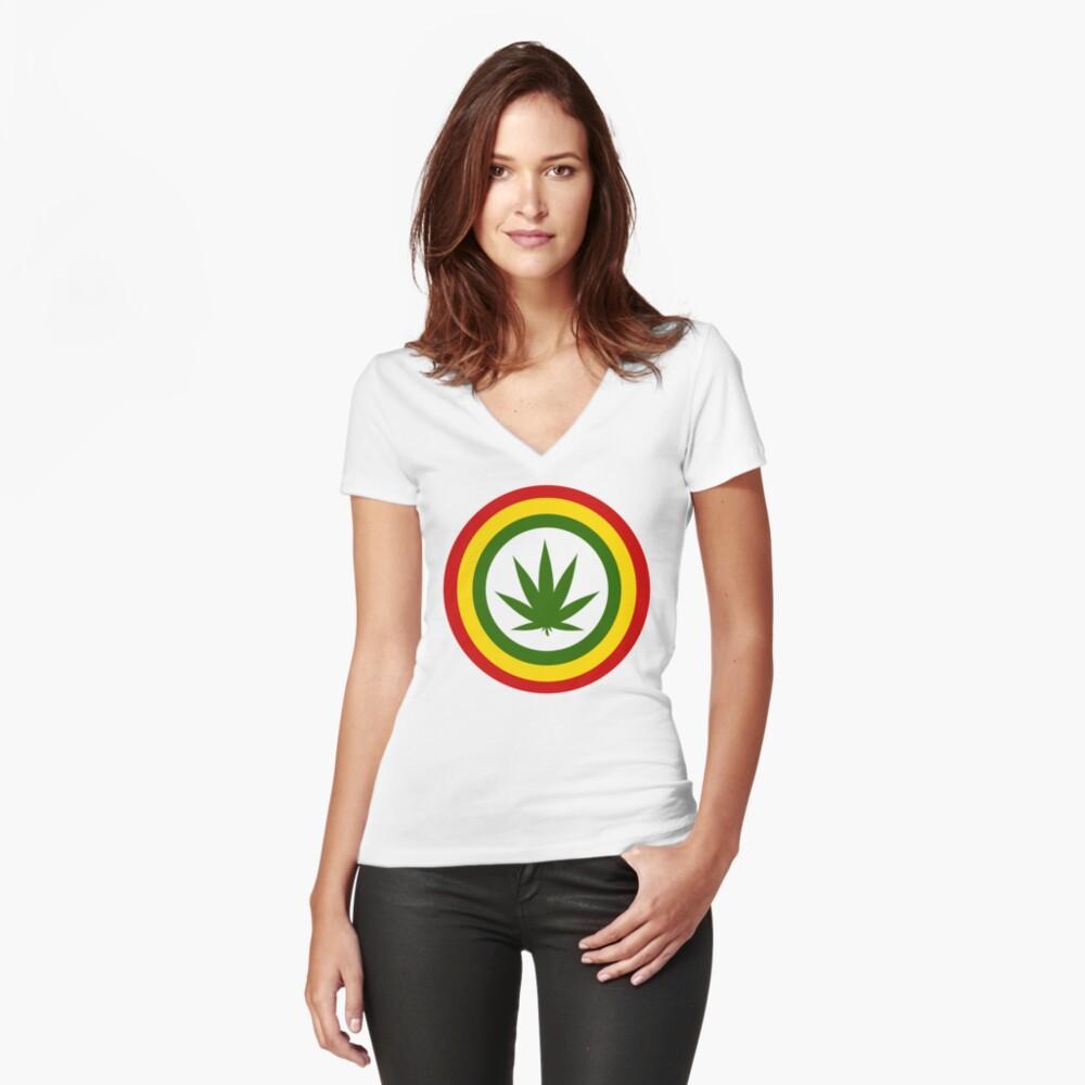 Captain Rasta Women's Fitted V-Neck T-Shirt Front