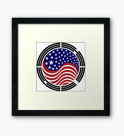 Korean American Multinational Patriot Flag Series Framed Print