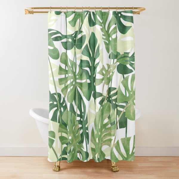 Vintage Monstera leaves Shower Curtain