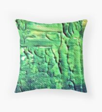 Energetic Abstractions - Green Matrix Grunge Throw Pillow