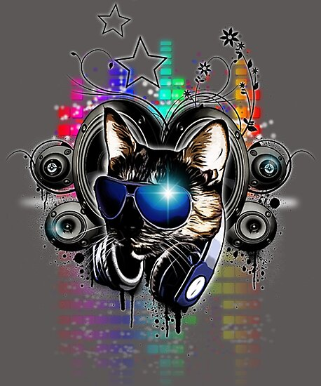 The Cat Listening To Music The Drop Bass Poster By Bolerovo