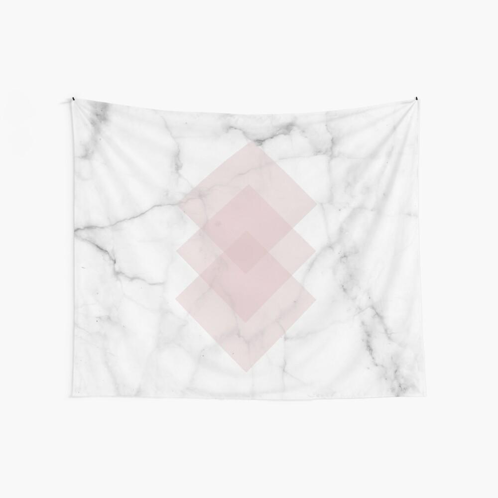 Blanco Marble Scandinavian Geometric Blush Pink Squares Tela decorativa