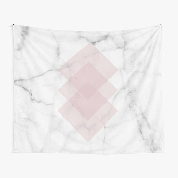 White Marble Scandinavian Geometric Blush Pink Squares Tapestry