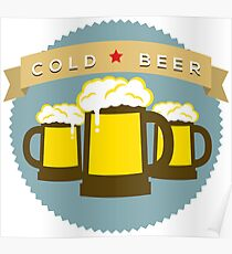 Cold Beer Badge Poster