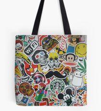 Crazy Sticker Wall Tote Bag
