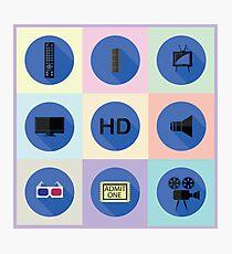set of media flat icons Photographic Print