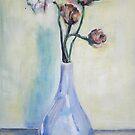 Mohnblumen in einer blauen Vase von Christel  Roelandt