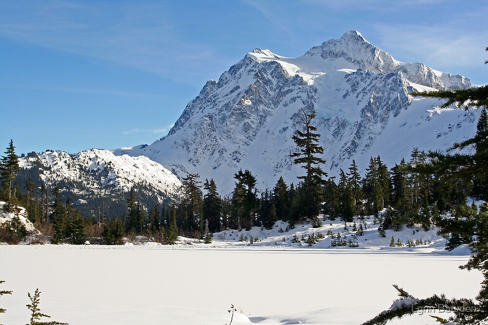 Mount Shuksan and Snowed Over Picture Lake in Winter by Lynn Bawden