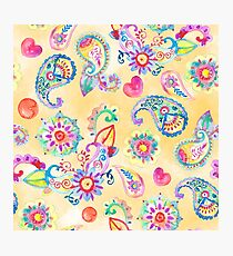 Paisley pattern hand-painted watercolor Photographic Print