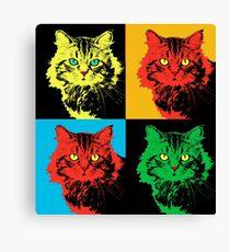 CAT POP ART  yellow red green Canvas Print