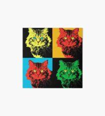 CAT POP ART  yellow red green Art Board