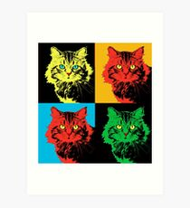 CAT POP ART  YELLOW RED GREEN Art Print