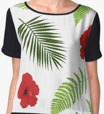 Red hibiscus and palm leaves seamless pattern. Women's Chiffon Top