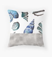 South pacific sea shells - silver graphite Throw Pillow