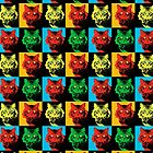 CAT POP ART  YELLOW RED GREEN by NYWA-ART