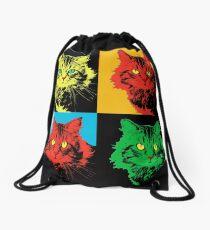 CAT POP ART  YELLOW RED GREEN Drawstring Bag