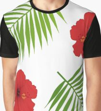 Red hibiscus and palm leaves seamless pattern. Graphic T-Shirt