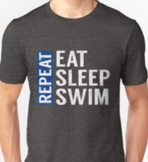 Eat Sleep Swim Repeat Funny Swimmer Quote T-Shirt