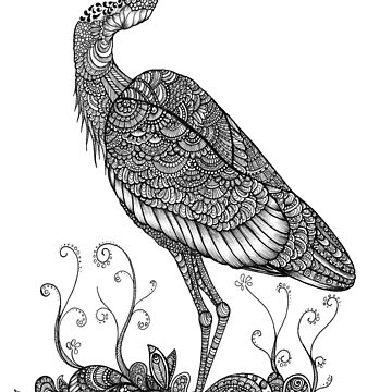 Black and White Zentangle Grey Heron by TemplemanArt