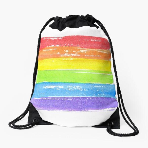 Symbol des schwulen Stolzes. Aquarellspektrum. Hand gezeichnete Malstriche. LGBTQ-Parade. Turnbeutel