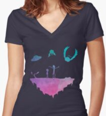 Rick and Morty silhouette Women's Fitted V-Neck T-Shirt