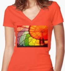 Reaching For The Sky Women's Fitted V-Neck T-Shirt