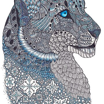 Blue Zentangle Snow Leopard and Snowflakes by TemplemanArt