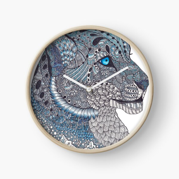 Blue Zentangle Snow Leopard and Snowflakes Clock