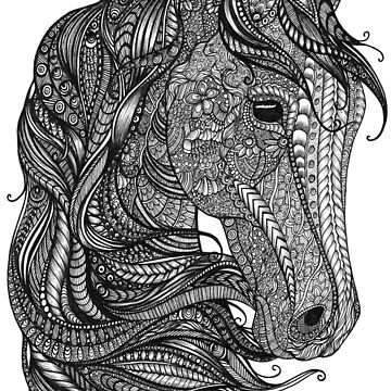 Black and White Zentangle Horse Head by TemplemanArt