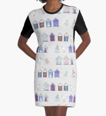Beach Huts, Bournemouth - on grey - original watercolour pattern by Cecca Designs Graphic T-Shirt Dress