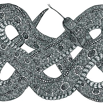 Black and White Zentangle Celtic Knot Snake by TemplemanArt