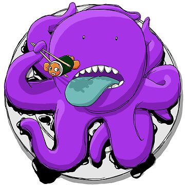Purple Octopus Eating Sushi by mikeyuhoh